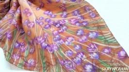 Шелковый платок- батик Лаванда