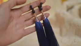 Темно-синие серьги-кисти с авантюрином ′Ночь Каира′