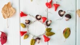 Набор украшений ′Грибочки′ из полимерной глины