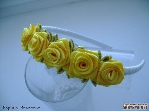 Фото ободок с цветами из лент своими руками