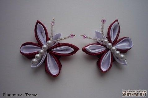 Заколка бабочка из атласных лент своими руками