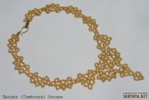 Колье из золотого бисера