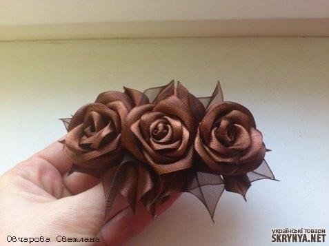Заколка розы своим рукам