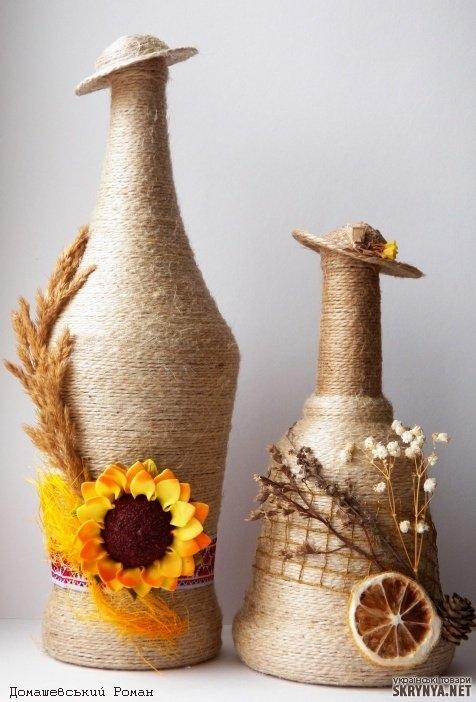 Декорирование бутылок своими руками фото