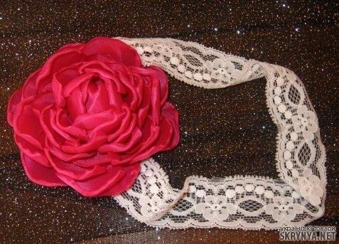 Цветок на голову из ткани