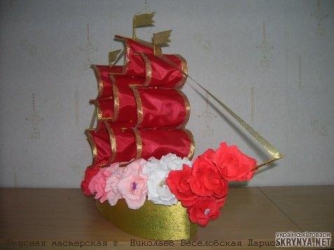 Золотой корабль из конфет