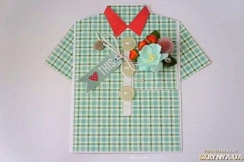 Скрапбукинг открытки для мужчин в виде рубашки
