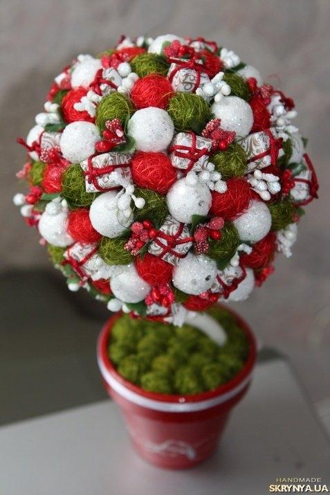 Как сделать новогодний топиарий из шаров