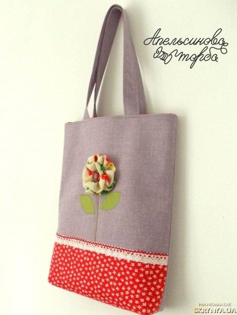 Цветок на сумку из ткани своими руками