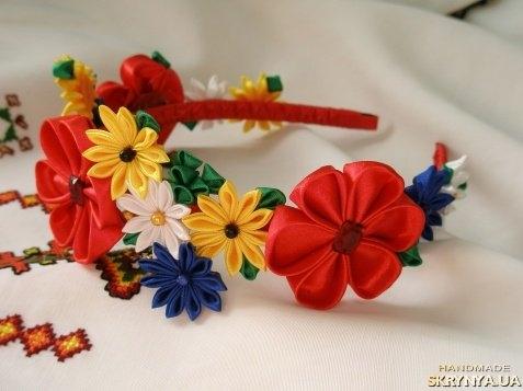 Обруч с цветами из лент своими руками