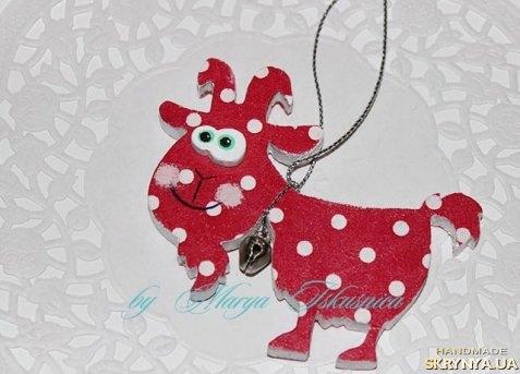 Елочная игрушка овца или коза сделанная своими руками