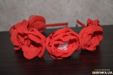 Обруч с цветами из шифона