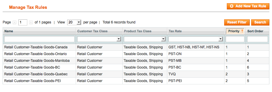 Magento Full Tax Rules