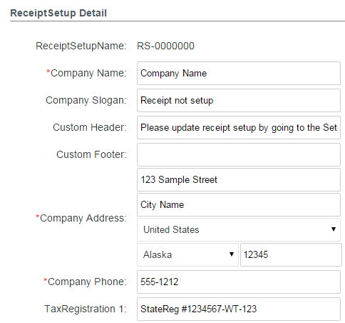 PerfectMind Help Specify Settings for Store Receipts – Company Receipt