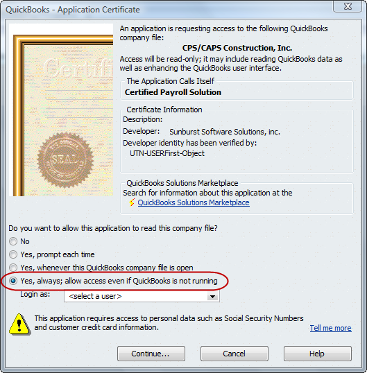 QuickBooks Will Not Display Certificate to Authorize Amicus ...