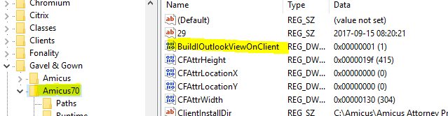 Outlook folder view not displaying in Amicus Communication section ...