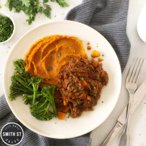 Beef Ragu with Sweet Potato Mash and Broccoli