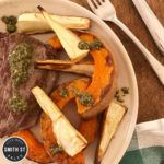 LAMB WITH MINT & PISTACHIO SAUCE & ROAST VEG