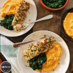 NUT-CRUSTED SALMON WITH CARROT PUREÉ & SAUTÉED SPINACH