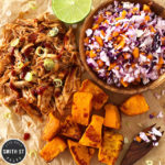 Pulled BBQ Chicken with Sweet Potato and Slaw