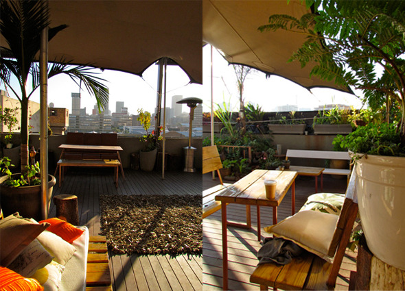 Enjoy A Sundowner On The Rooftop Venue Living Room In Maboneng With Stunning View Of Joburg Skyline