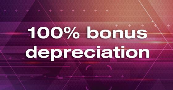 100% bonus depreciation