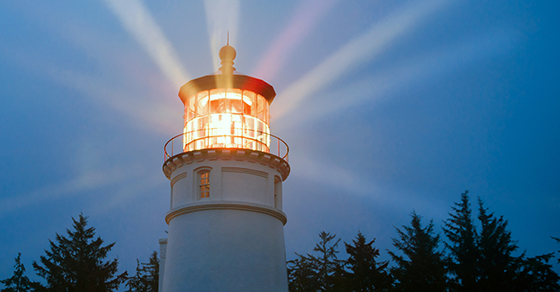 Shining Lighthouse at night
