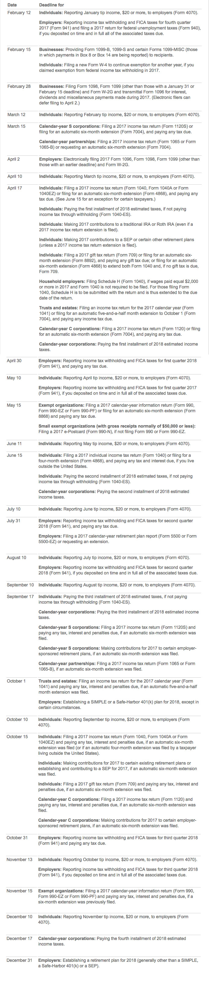 2018 tax calendar the year falaconquin