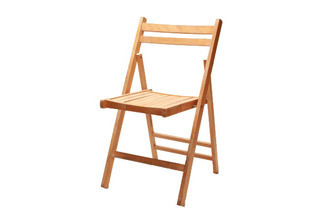 Natural Slatted Wood Folding Chair