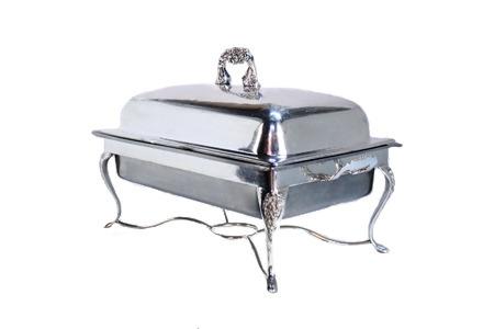8 qt. Rectangular Silver Chafing Dish