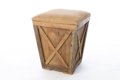 Burlap & Wood Foot Stool