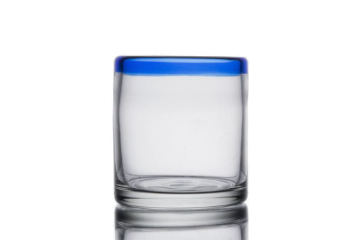 Cobalt Rim Vintage Rocks Glass Medium