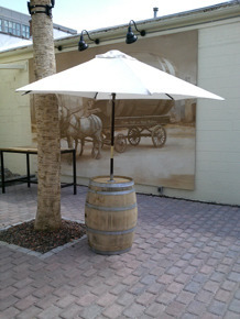 Bourbon Barrel with Umbrella