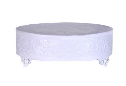 "White 22"" Round Cake Plateau"