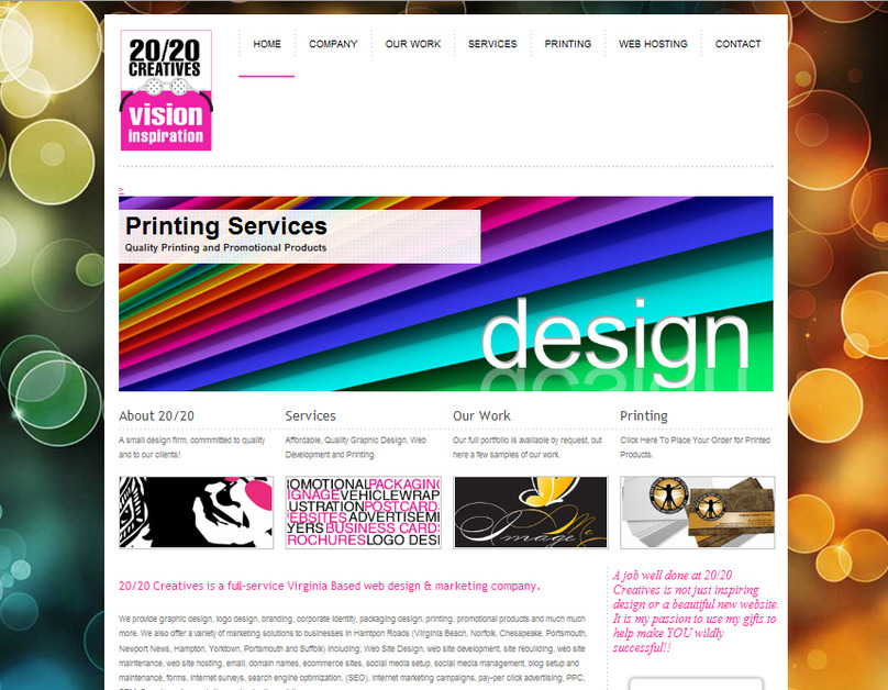 A great web design by 20/20 Creatives Graphic Design