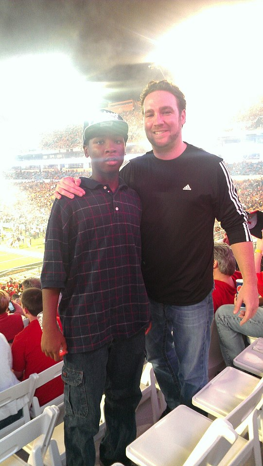 Chad Van Horn and Desmond at Football game