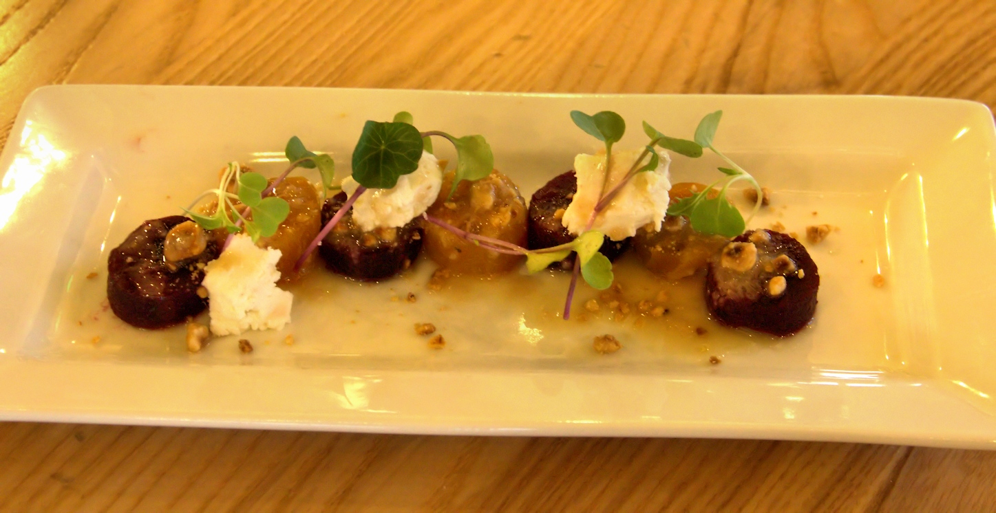 Roasted beet salad with hazelnuts, goat cheese and hazelnut vinaigrette