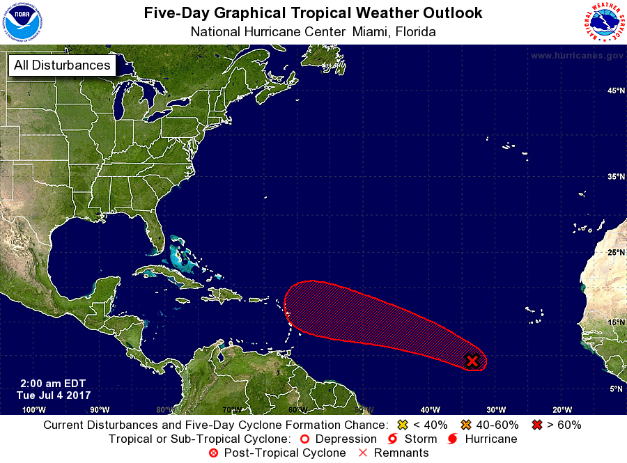 Tropical Depression No. 4 forms in Atlantic Ocean