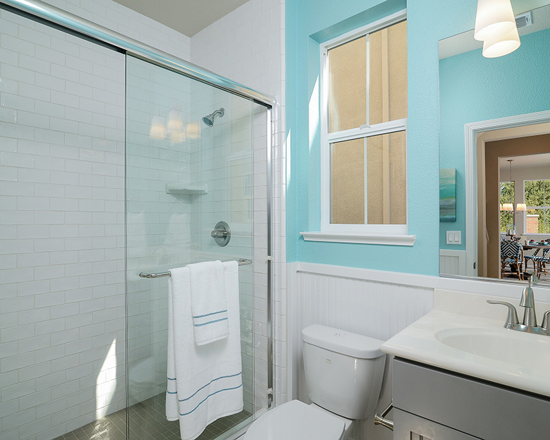 Light blue bathrooms Homes with light pale blue to soft periwinkle blue bathrooms sold for $5,440 more than expected.