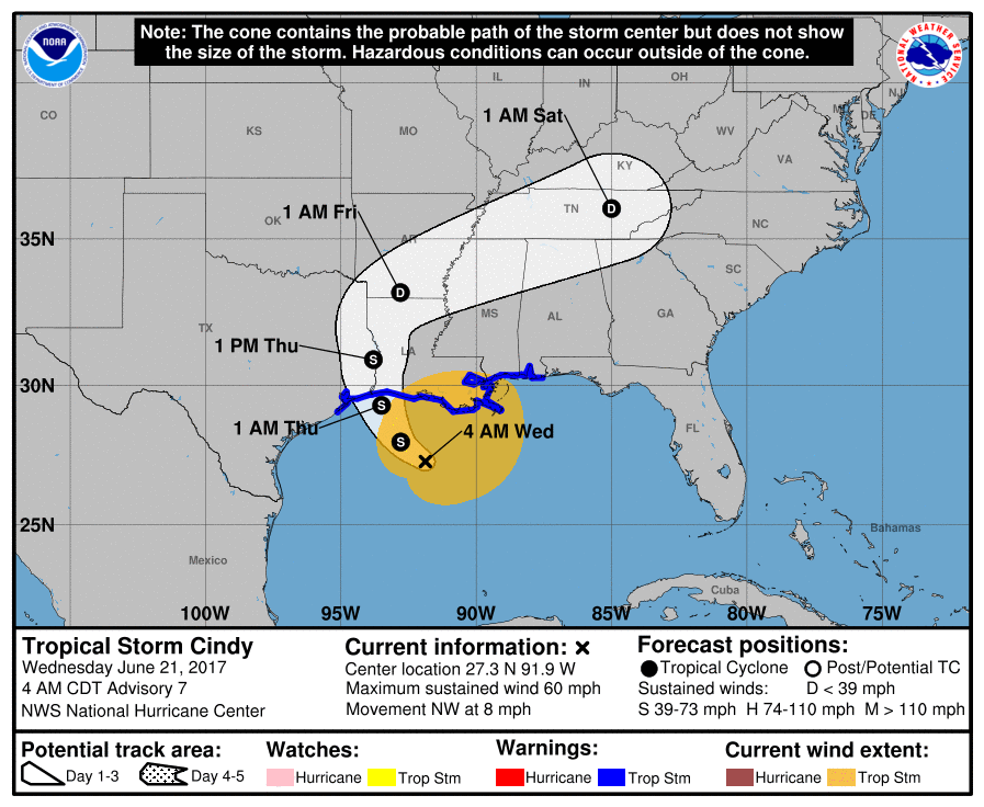 Cindy brings tornado threat to Gulf Coast
