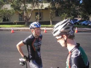 Ben and Jono discussing tactics.