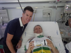 Carl Poingdestre and friend in Trento hospital