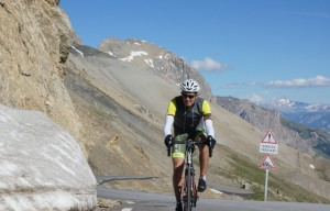 Schneiderman arriving at Col du Galibier. Picture courtesy of Ed, procyclingtours.com