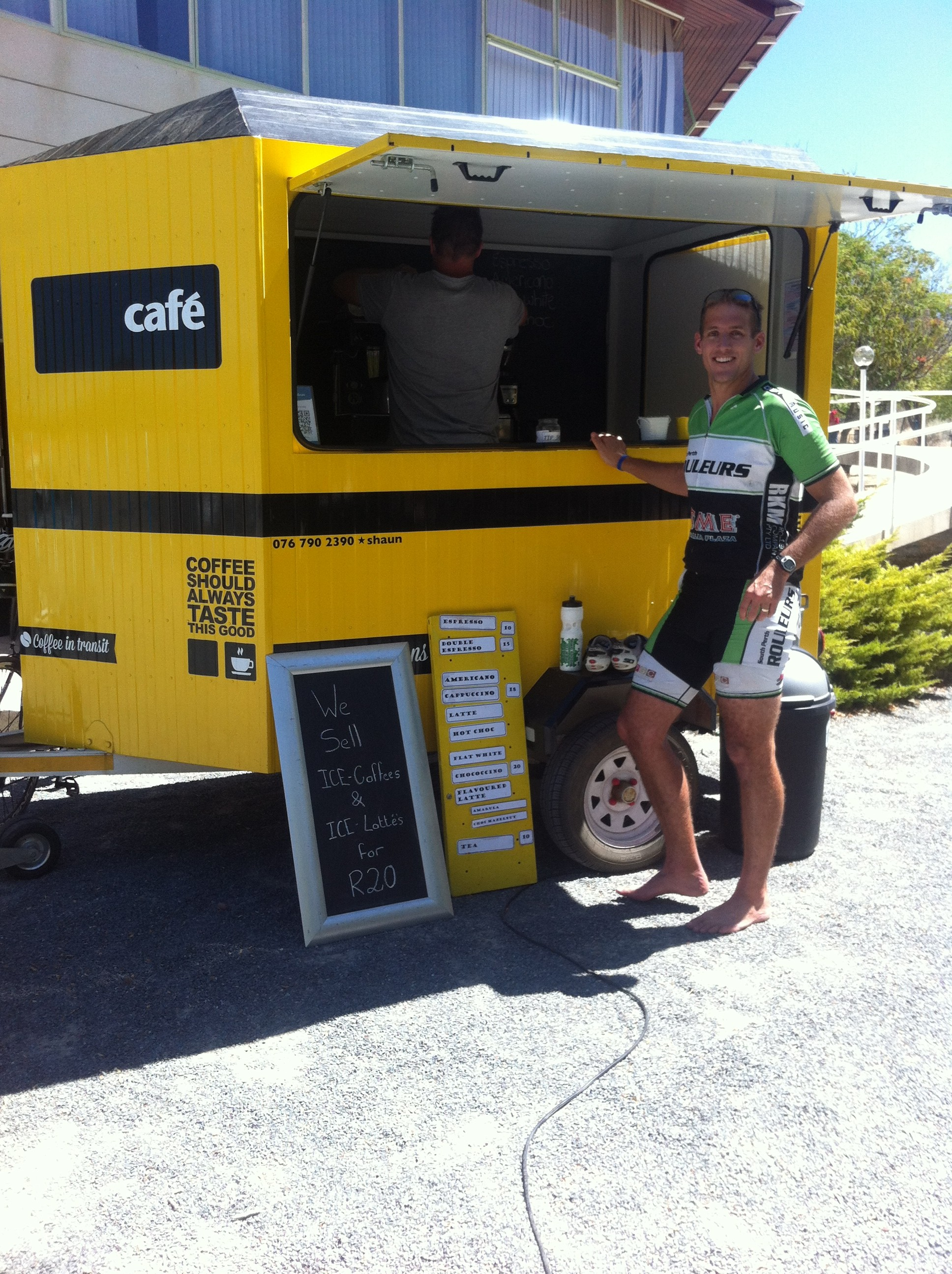 Mike Cootes at the drug van, end of Day 2, Tour de Boland