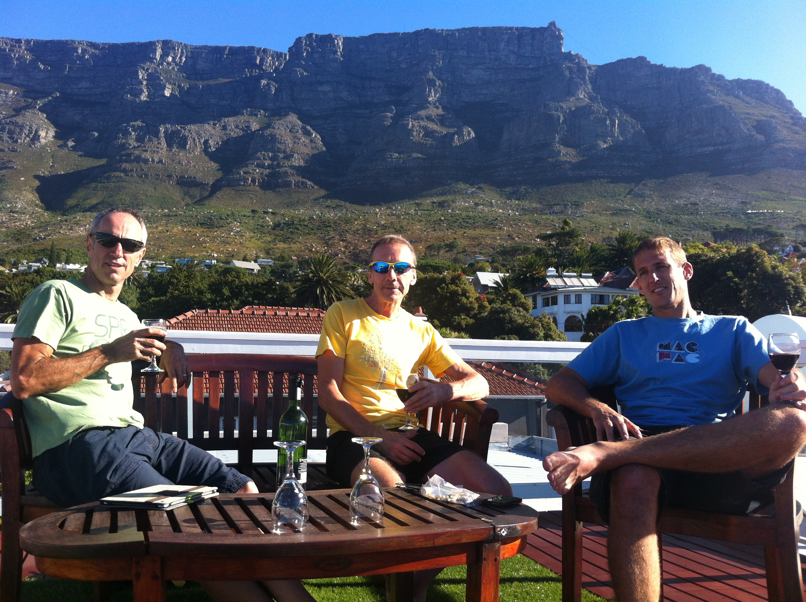 rehydrating after the Tour de Boland, Cape Town B&B, Friday 6th March 2015