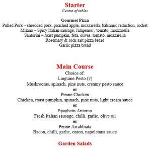 Bravos menu