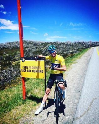 Froome 2 km from the finish line, picture courtesy of www.destinationjindabyne.org.au