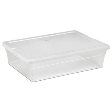 Sterilite 28 Quart Clear Plastic Underbed Storage Tote