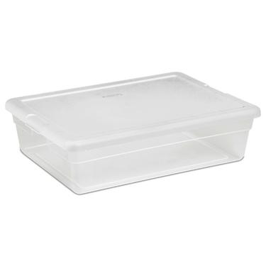 Sterilite 28 Quart Clear Plastic Underbed Storage Tote