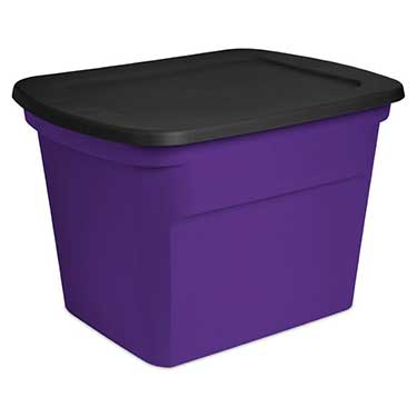 Sterilite 18 Gallon Purple & Black Storage Tote